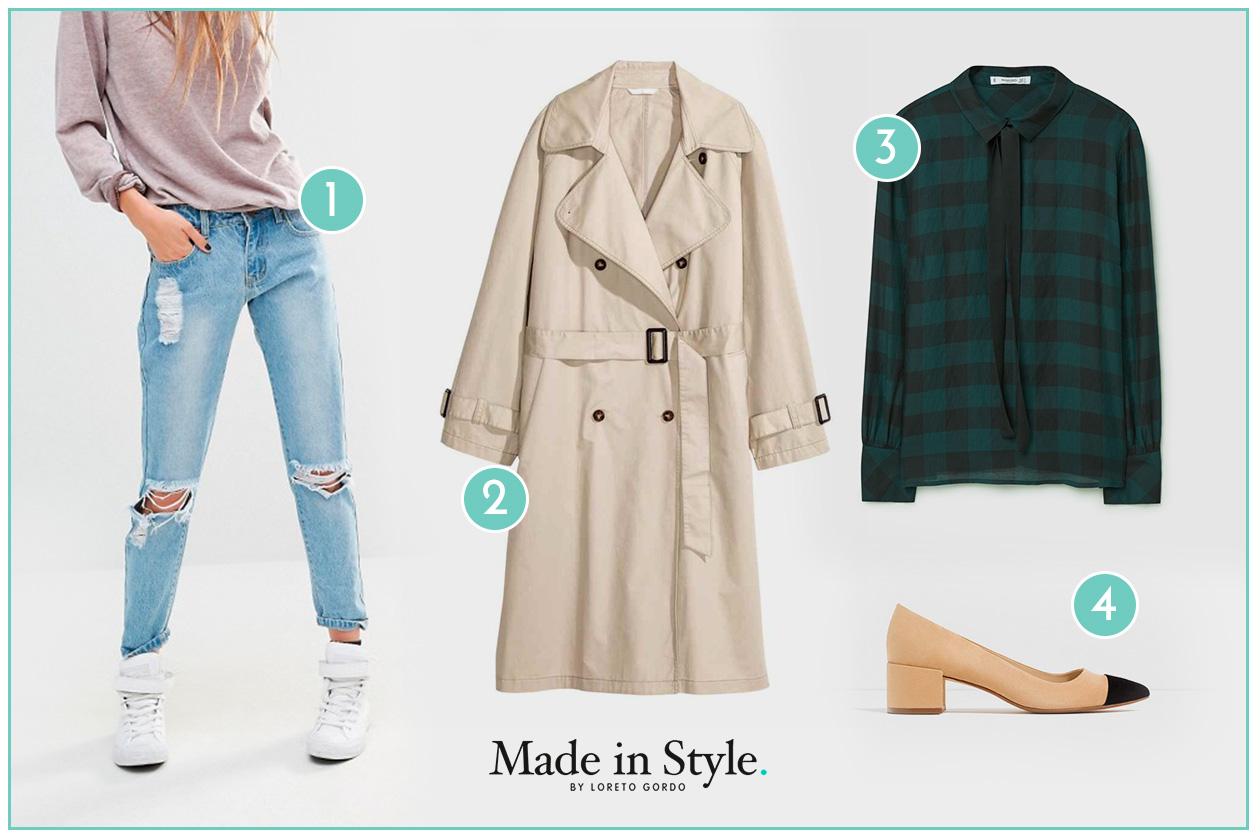 look_semana_loreto_made_in_style_gabardina_trench_tartan_camisa_lazo_jeans_rotos_chanel_zapatos_bicolor