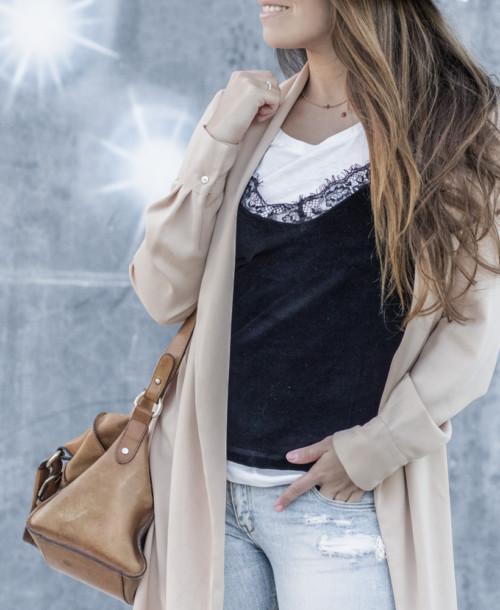 Velvet top and t-shirt